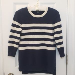 Cashmere Navy White Stripe Sweater Nautical